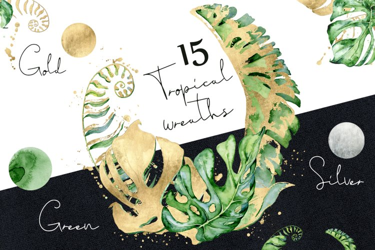 15 Tropical wreaths watercolor example image 1