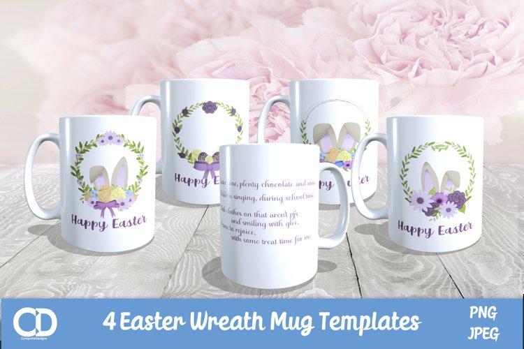 4 Easter Wreath Mug Templates - with Original Verse for 2021
