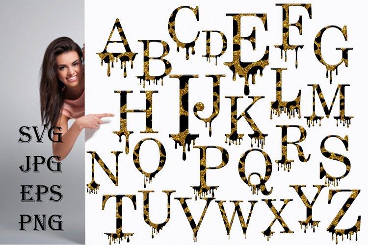 Valentines SVG, Dripping Glitte leopard Alphabet SVG example image 1