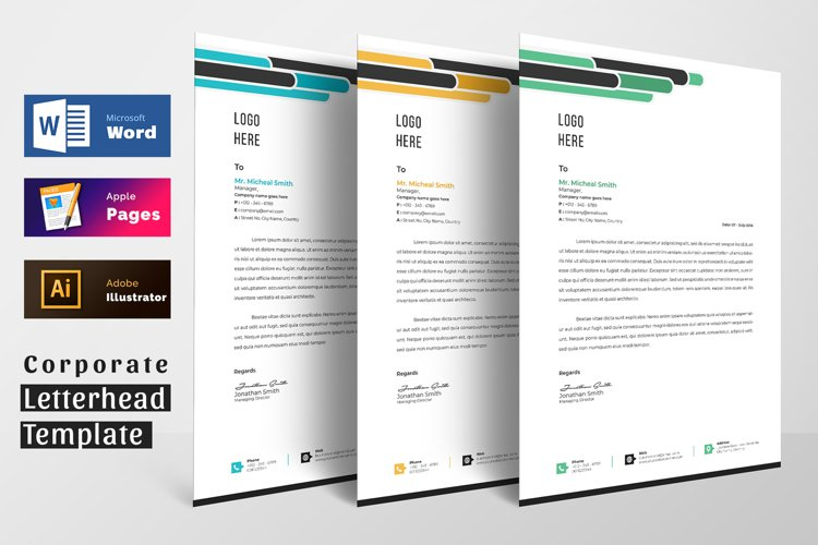 Letterhead Pad Template With Word Apple Pages Format example image 1
