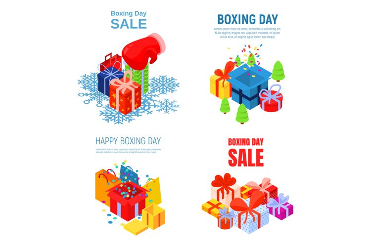 Happy boxing day banner set, isometric style example image 1