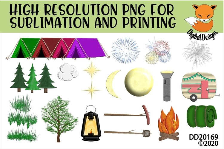 Camping Element Bundle PNG for Sublimation