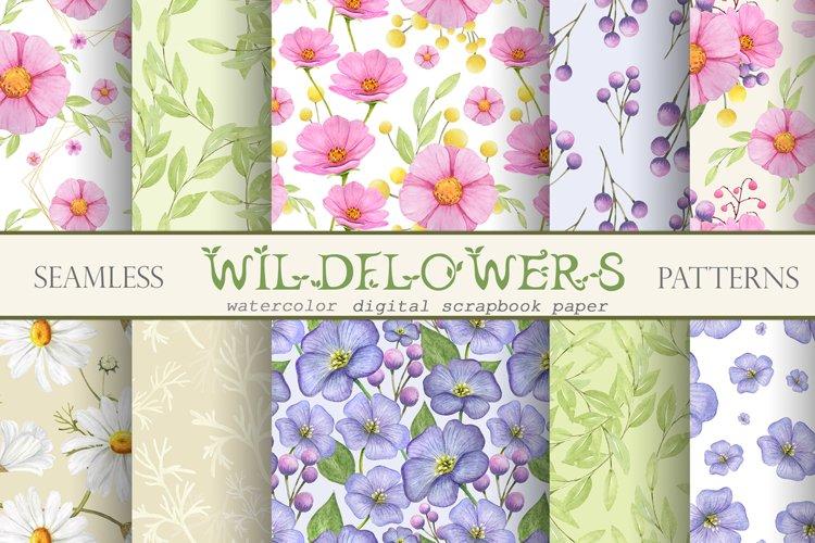 Watercolor flowers seamless digital patterns, Wildflowers