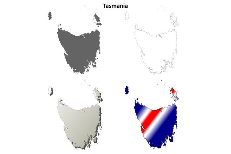 Tasmania blank detailed outline map set example image 1