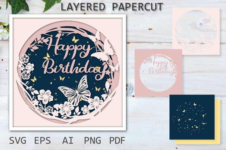Happy Birthday paper cut, SVG layered papercut Cutting File