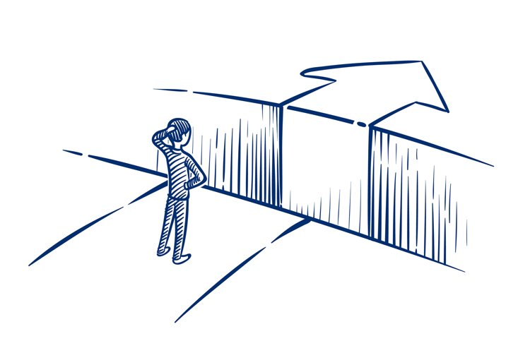 Business challenge concept. Businessman overcomes obstacle c example image 1