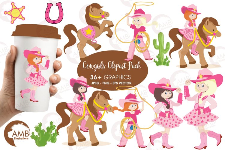 Cowgirl clipart, graphics, illustrations AMB-159 example image 1