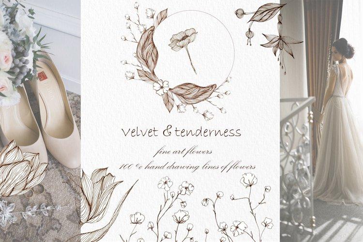 Vintage Flowers, botanical Illustrations for wedding