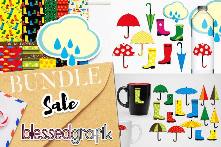 Rain boot and umbrella clip art illustrations bundle