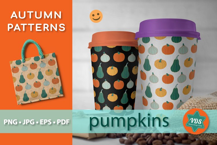 Autumn Patterns with Pumpkins. example image 1