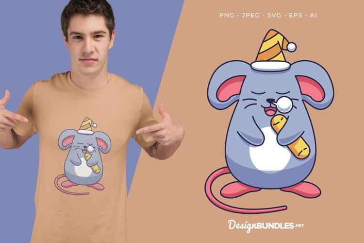 Sleeping Mouse Vector Illustration For T-Shirt Design