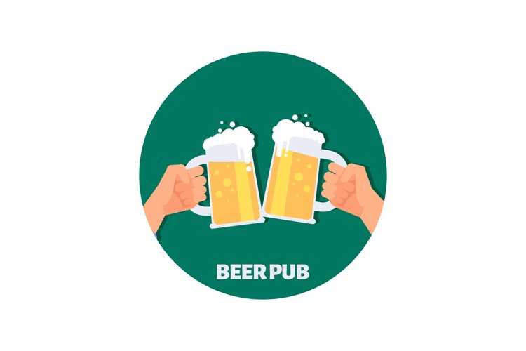 Beer pub vector icon design. Two hands holding beer glasses example image 1