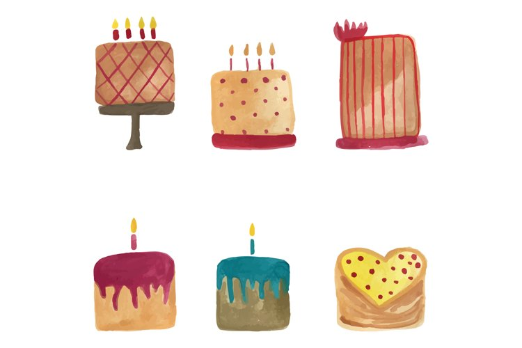 Watercolor birthday cake in cartoon style. Kids illustration example image 1