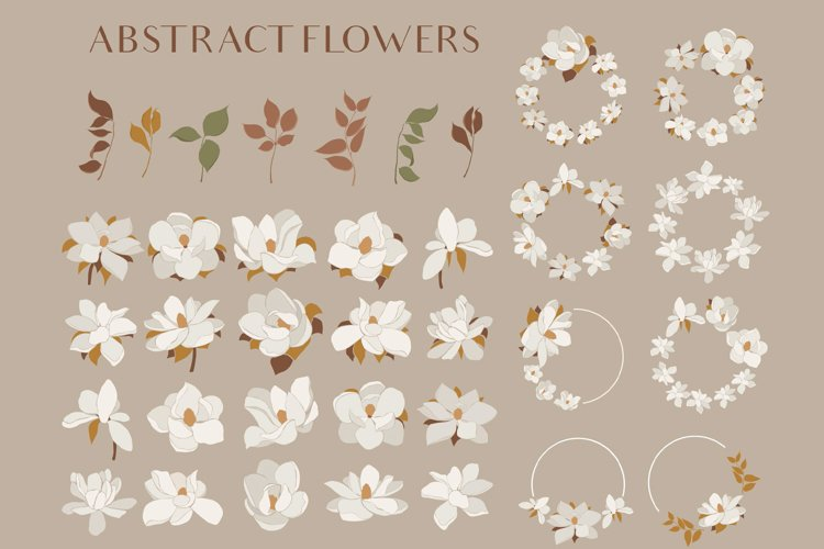 Magnolia flowers clipart. Abstract art example image 1
