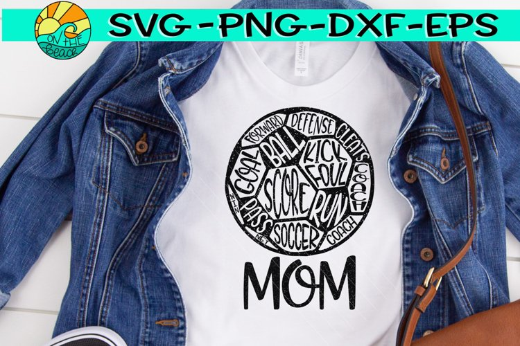 Soccer Mom - Soccer Ball - Words - SVG PNG EPS DXF example image 1