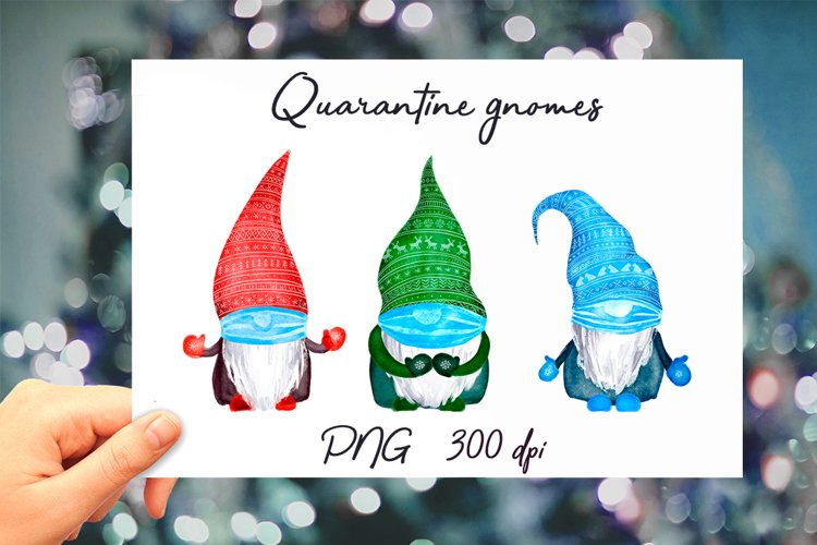 Quarantine gnomes in mask, Christmas lockdown PNG clipart