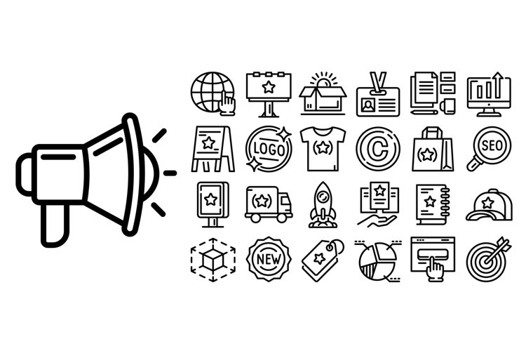 Brand icon set, outline style example image 1