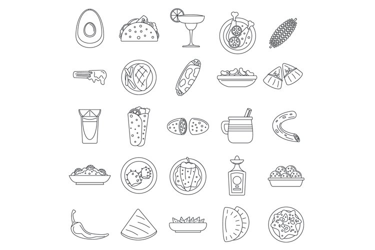 Healthy mexican food icon set, outline style example image 1