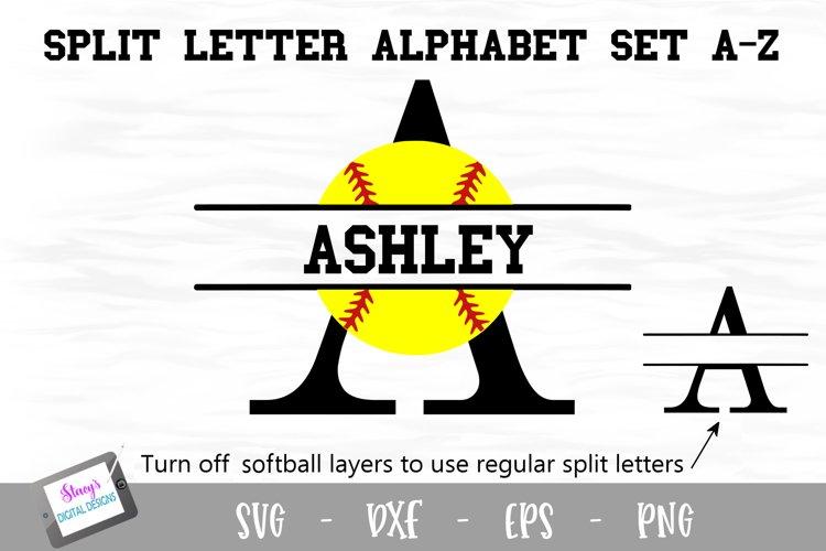 Split Letters A-Z - 26 Split Monogram Softball SVG alphabet example image 1