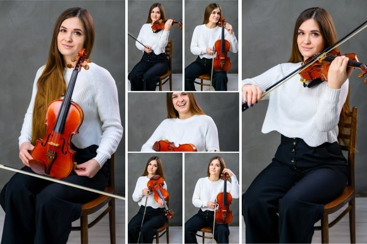 15 vertical conceptual photos of a girl with a violin