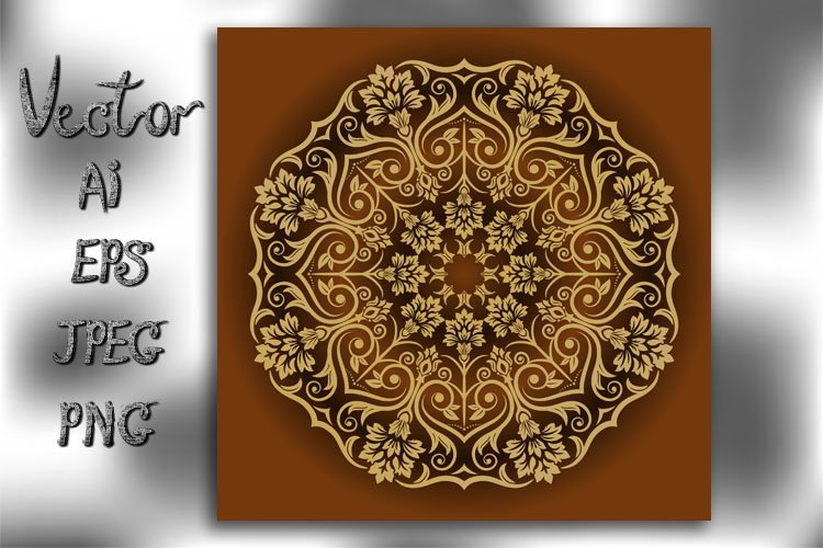 Mandala. Vintage decorative element. Vector. example image 1