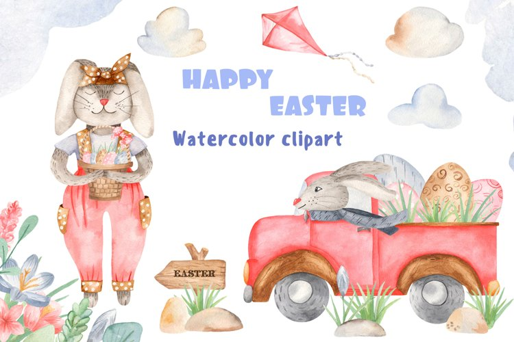 Happy easter watercolor clipart. Cute cartoon Easter Bunnies