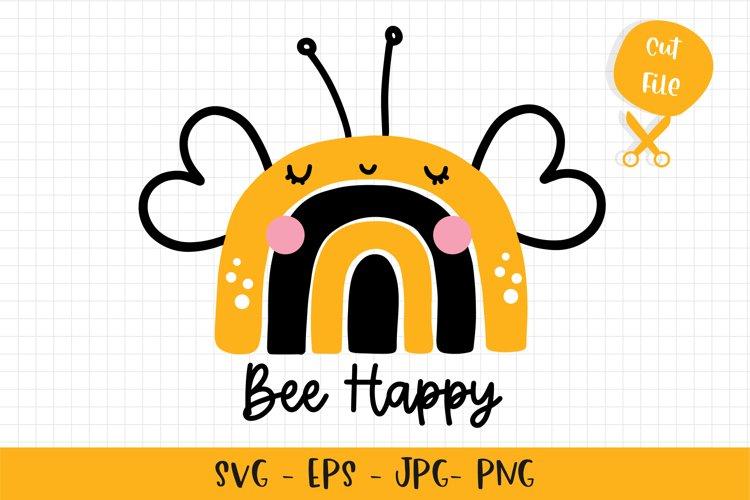 Bee Happy Rainbow SVG example image 1
