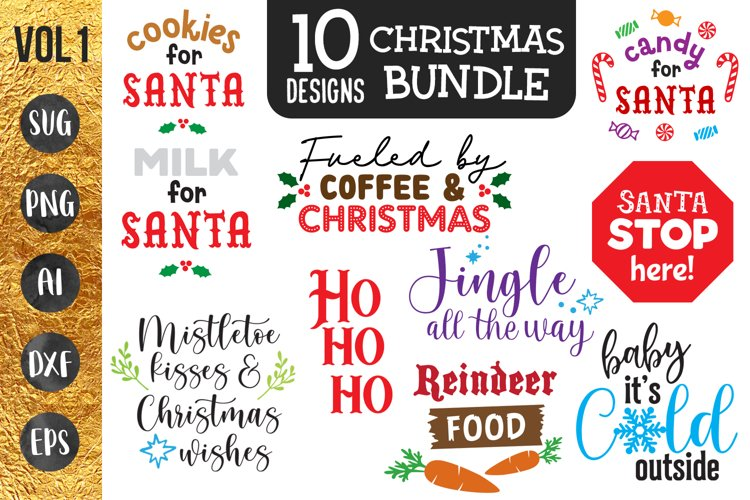 Christmas bundle - 10 designs - svg png cut files Cricut example image 1