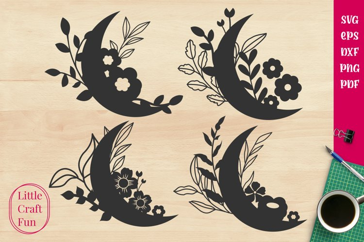 Crescent Cute Flowers Svg example image 1
