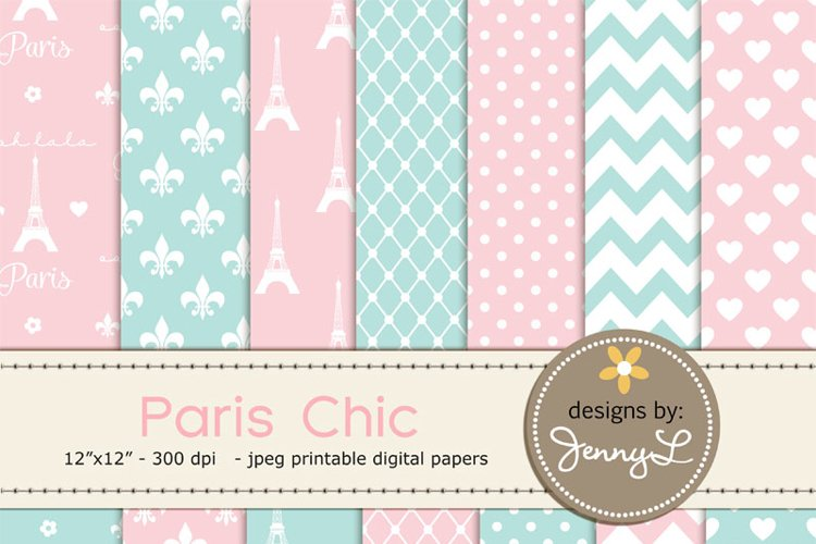 Paris Chic Digital Paper, Eiffel Tower Printable Digital Background Papers, Fleur,  example image 1
