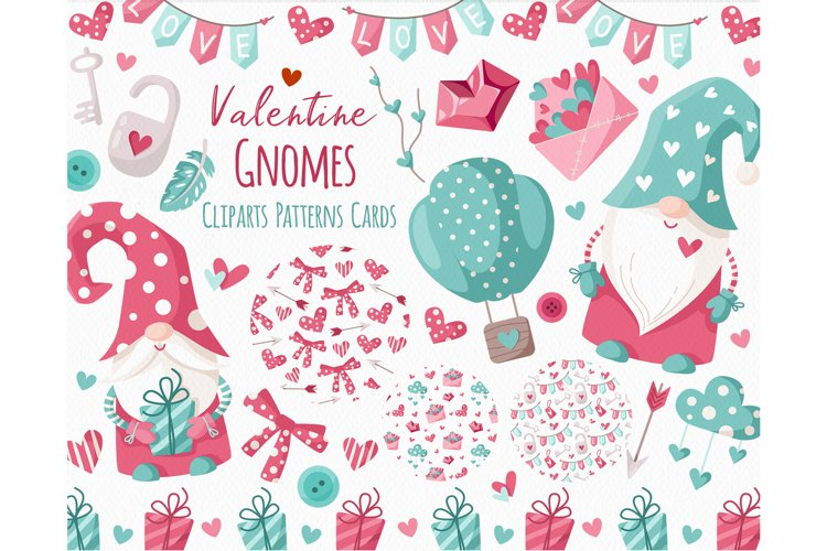 Valentine Gnomes - clipart and digital paper example image 1