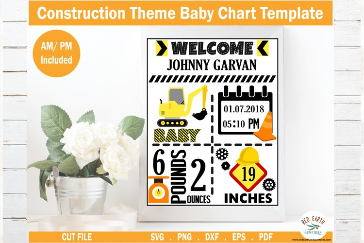 Construction theme Baby announcement chart template SVG,DXF