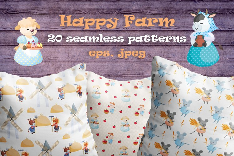 Happy farm. Vector seamless patterns.