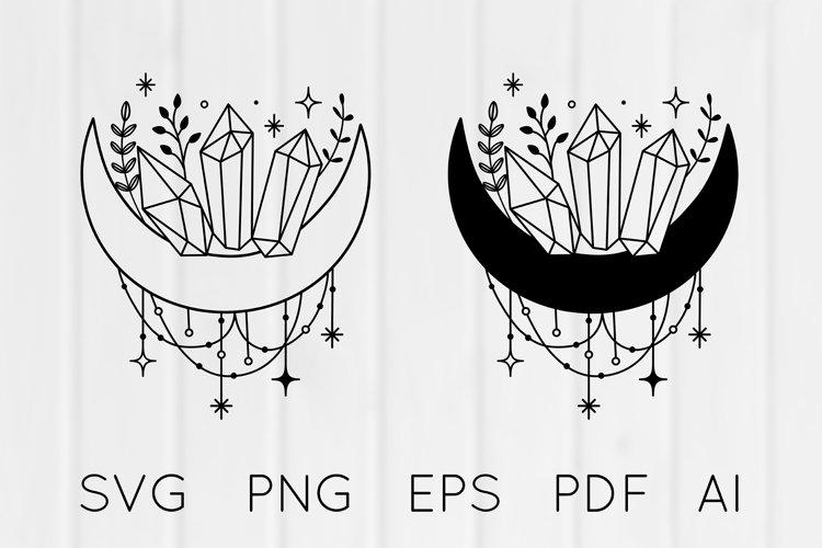 Boho Mystical Floral Moon Dreamcatcher Crystals SVG PNG EPS