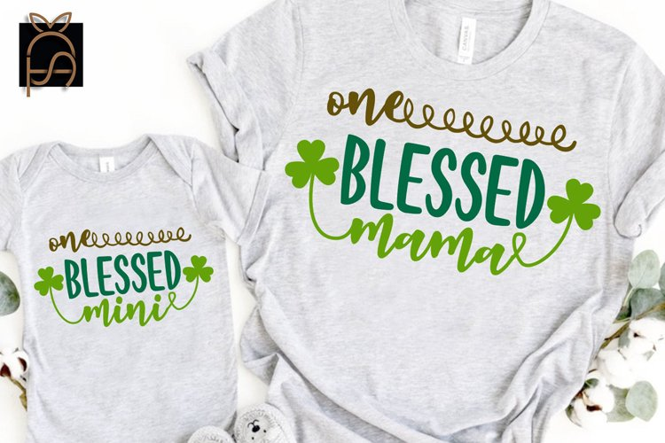 One Blessed Mama Mini- St. Patrick's Day SVG DXF EPS PNG PDF example image 1