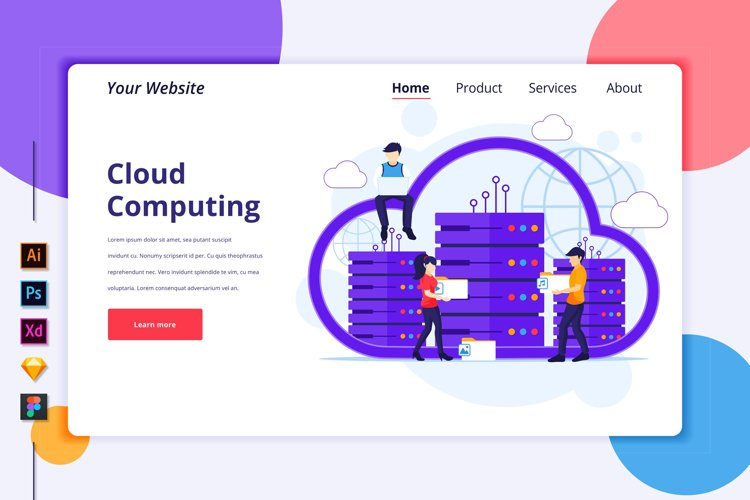 Landing page template of Cloud Computing Illustration