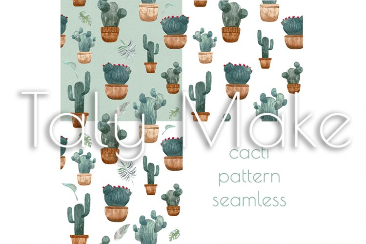 Seamless pattern of watercolor green cacti example image 1
