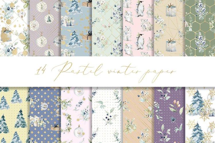 Pastel winter digital paper, seamless pattern example image 1
