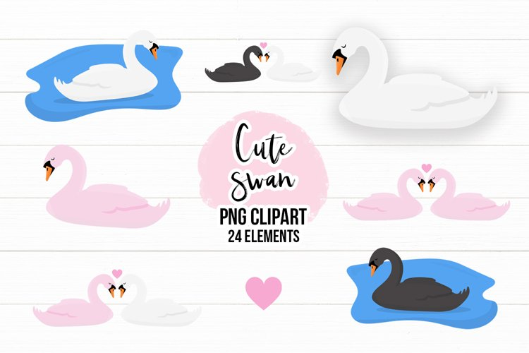Cute Swans PNG Clipart Set - Swan Clipart example image 1