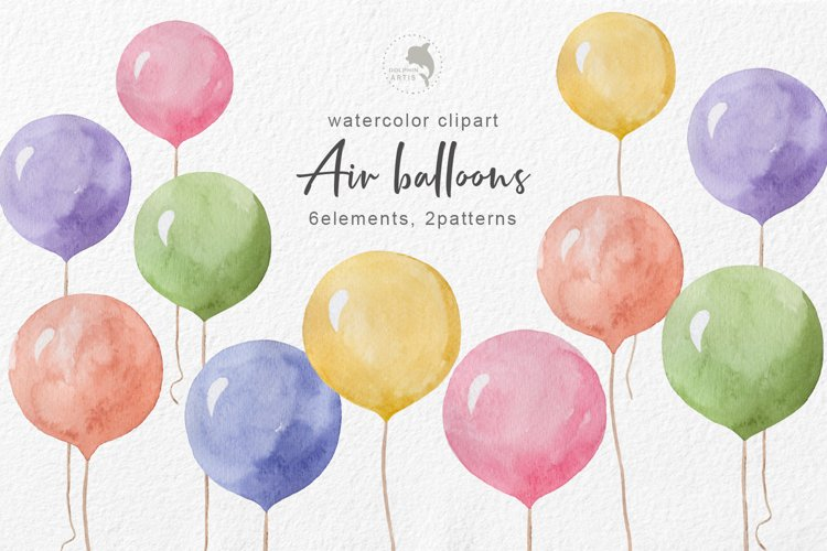 Watercolor balloons example image 1