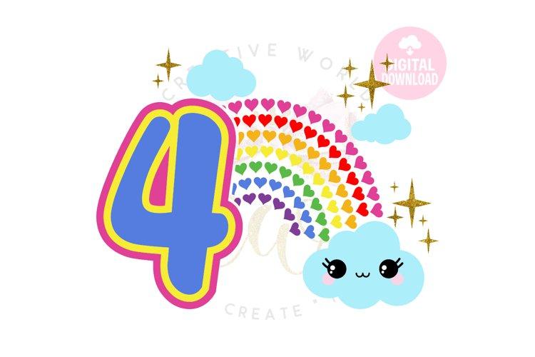 4th Birthday svg | My 4th Birthday svg | Rainbow Birthday example image 1