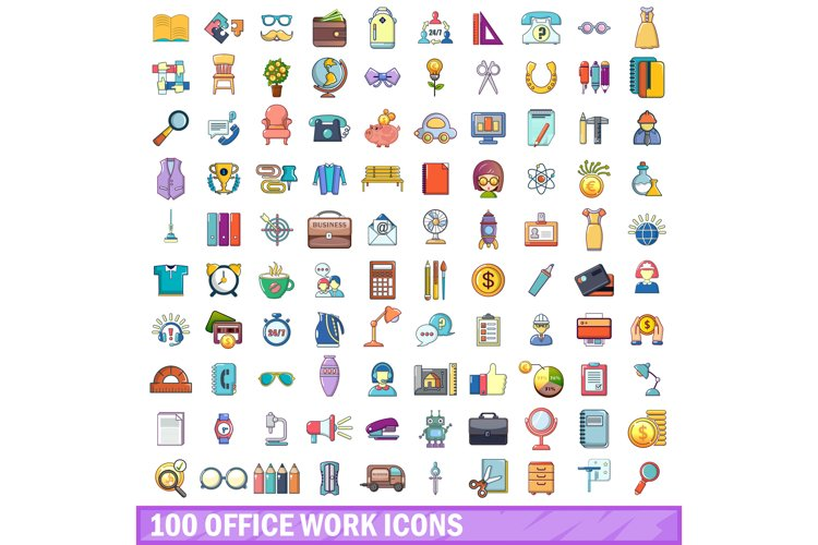 100 office work icons set, cartoon style example image 1