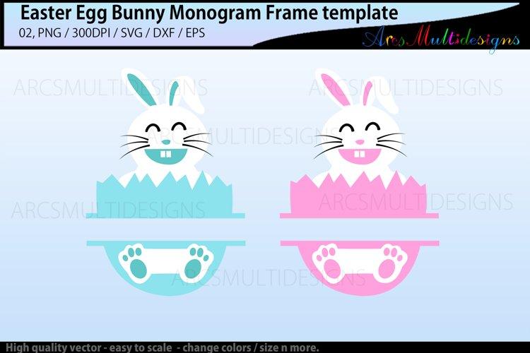 Easter egg bunny monogram frame template