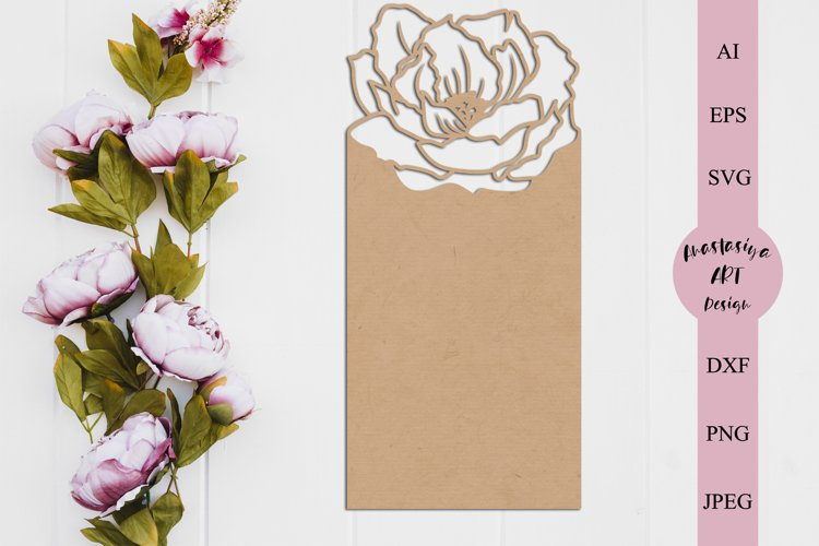 Floral card template svg, Menu card svg, Seating card dxf example image 1
