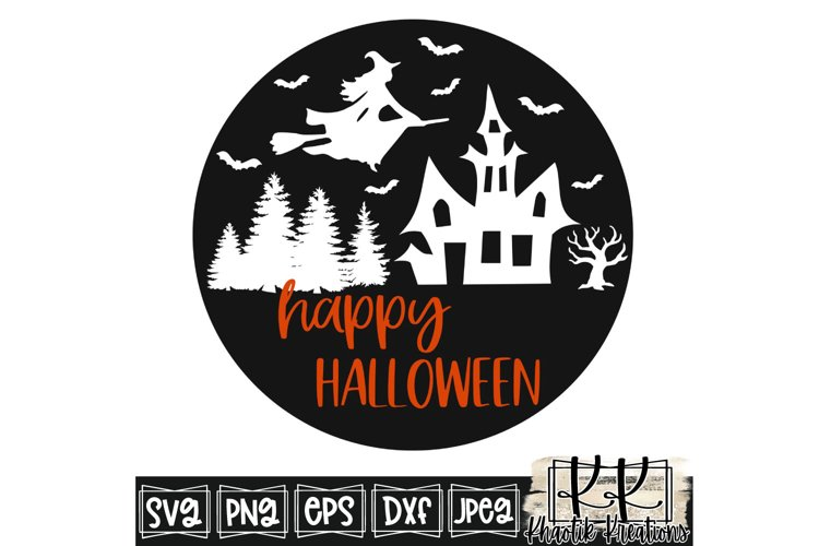 Happy Halloween Svg, Halloween Svg Designs, Flying Witch Svg example image 1