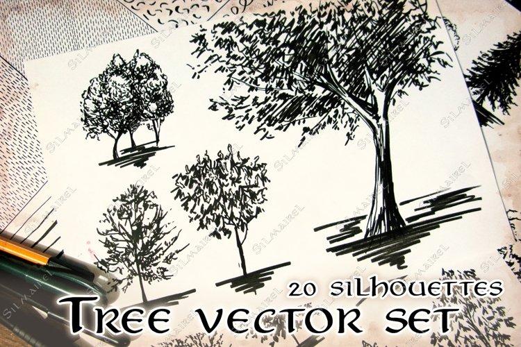 20 Tree silhouette sketch set vector