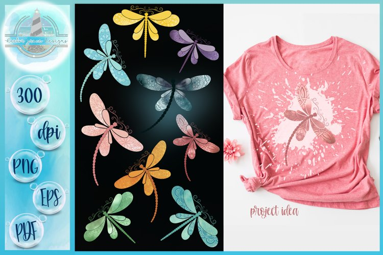 Watercolor Dragonflies with Mandalas Sublimation Designs example image 1