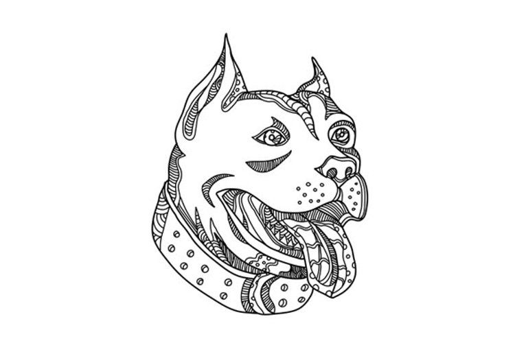 Pit Bull Head Doodle Art example image 1