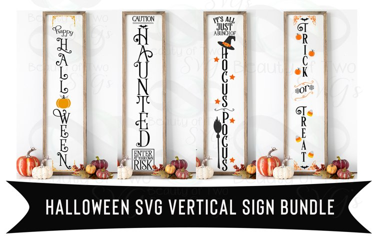 Halloween Vertical svg Sign Bundle, 4 Halloween svg designs example image 1