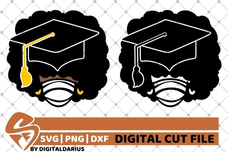 2x Afro Girl Bundle svg, Mask svg ,Graduation, Black History example image 1